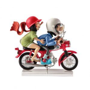 GASTON LAGAFFE ET MADEMOISELLE JEANNE À MOTO (HONDA S90)